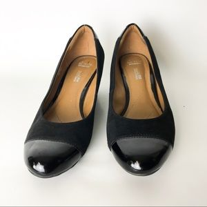 Clarks Soft Cushion Black Patent Velvet Wedge Heel